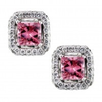 A pair of fancy pink princess cut diamond earrings - $4,495