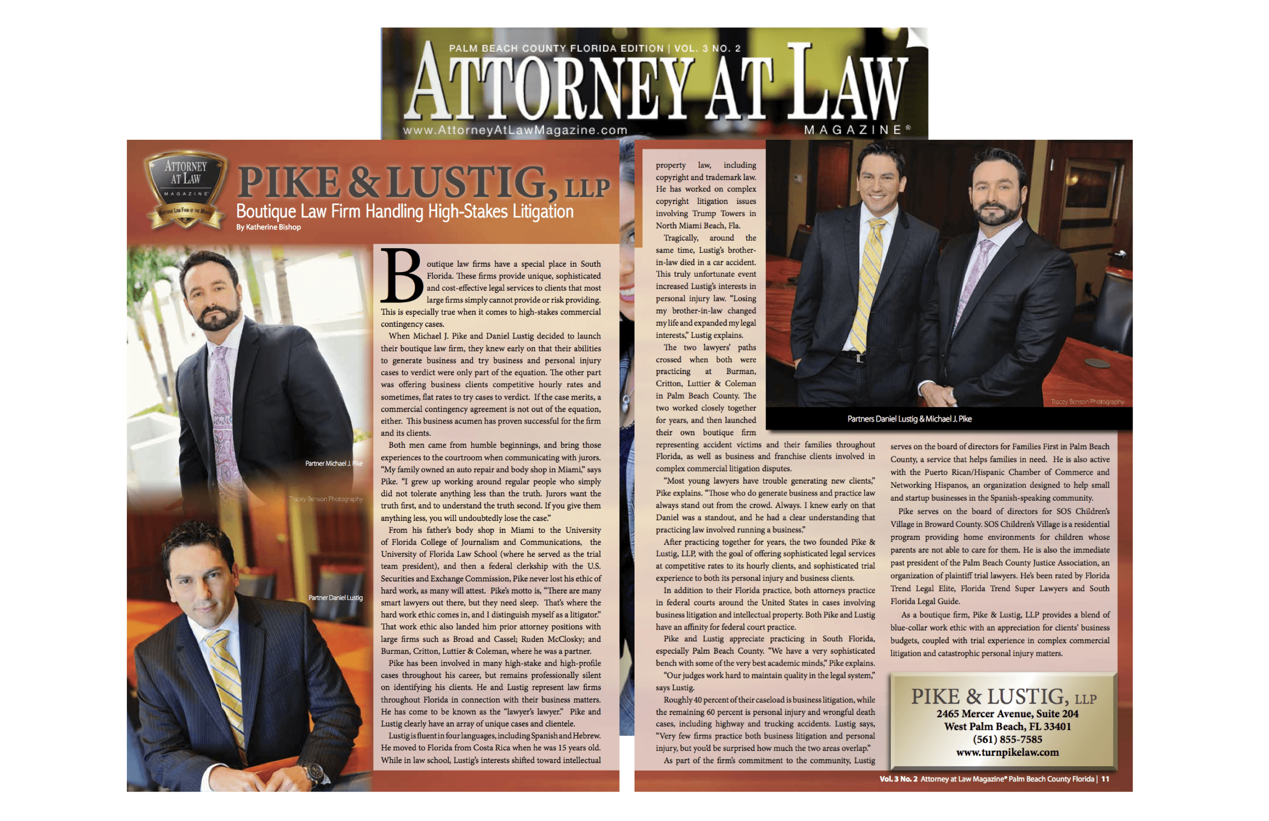 Attorney at Law Magazine- Pike & Lustig - Pike & Lustig profile- Vol3 No2
