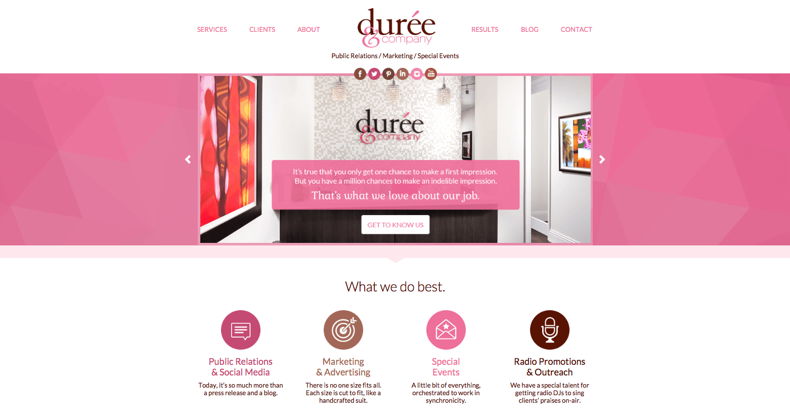 Durée and company website public relations marketing special events