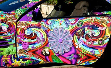 rainbow tye dye car