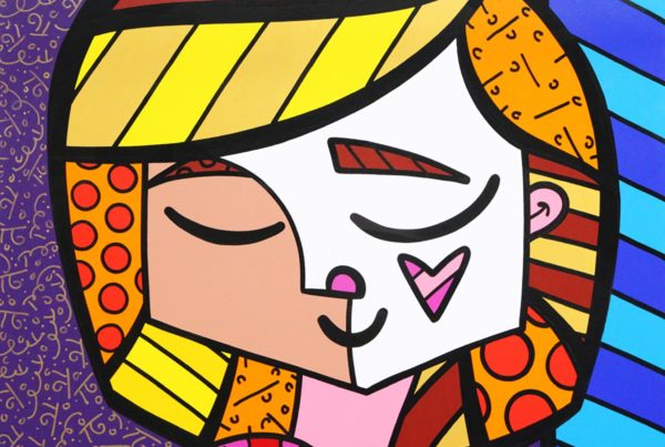 romero britto artwork girl heart flower shapes