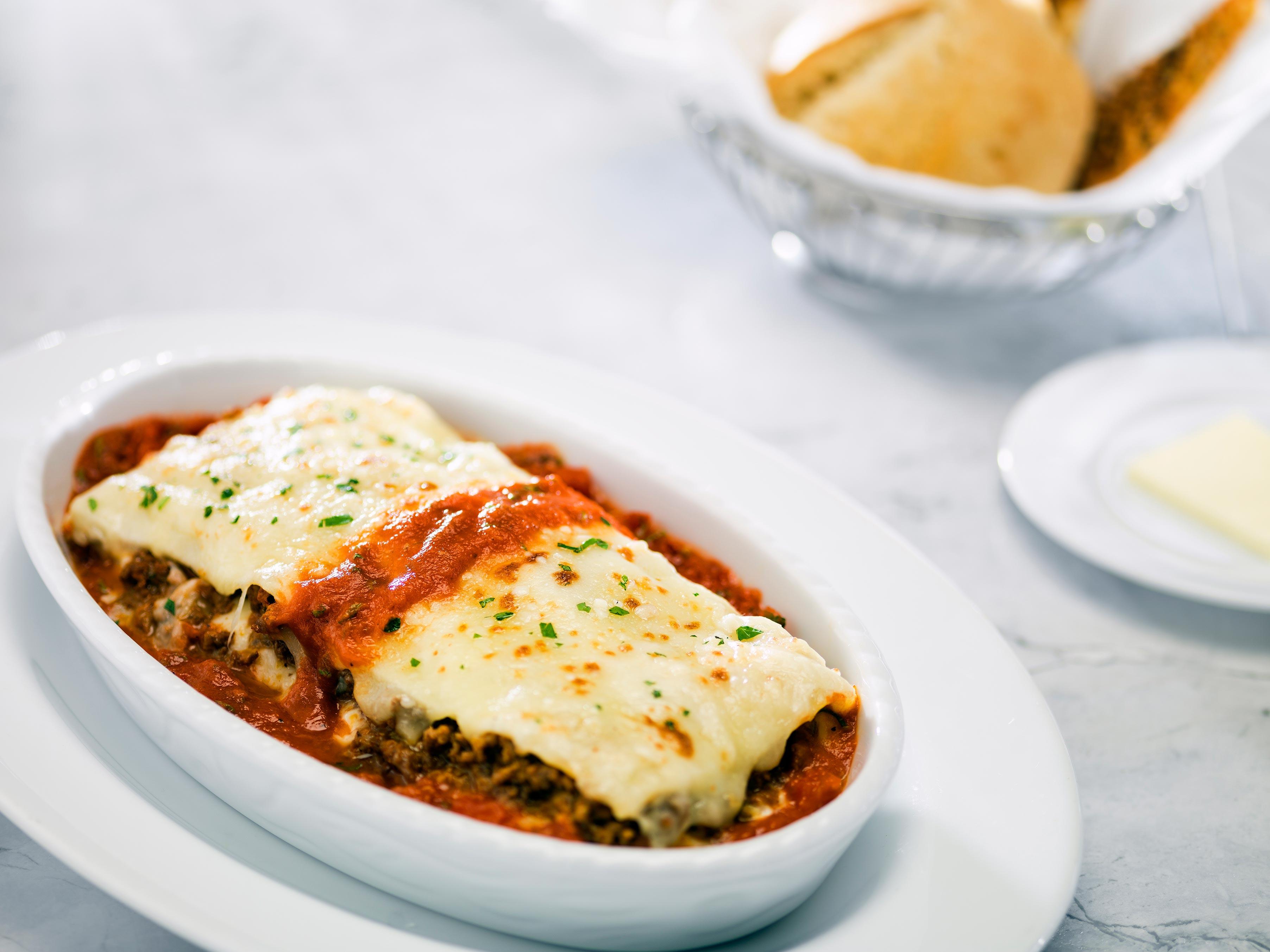 lasagna in a white dish brio tuscan grille