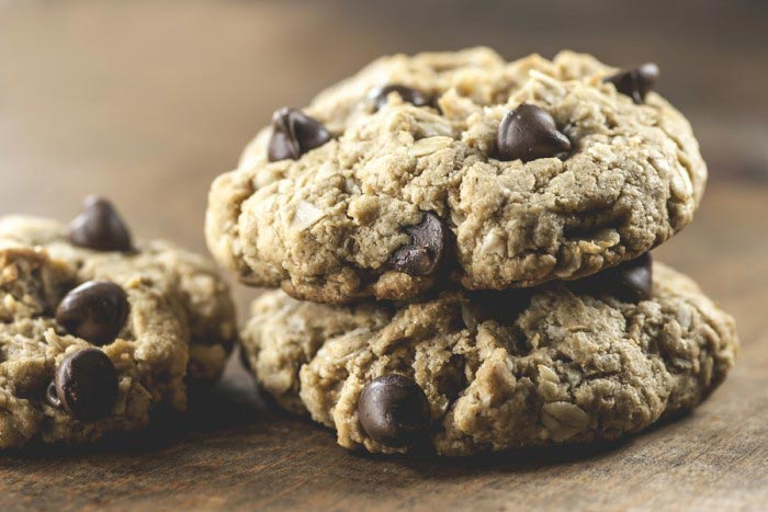 Macro view of three chocolate chip cookies with a shallow depth-of-field (DOF)