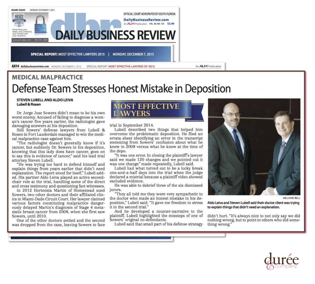 Daily Business Review - Lubell Rosen - Defense Team Stresses Honest Mistake in Deposition - 12-7-2015