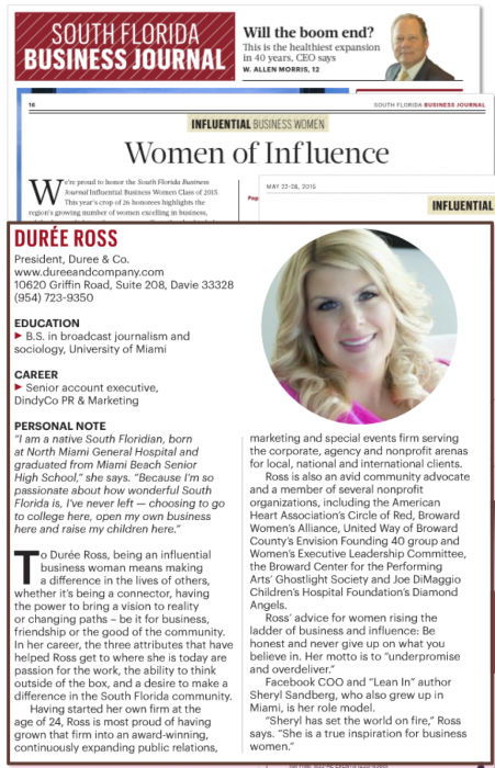 durée ross south florida business journal influential business women
