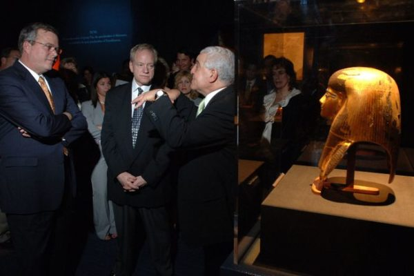 "Florida Governor Jeb Bush, left, and Dr. David Silverman, national curator for ""Tutankhamun and the Golden Age of the Pharaohs"", center,  listen to Dr. Zahi Hawass, secretary general of Egypt's Supreme Council of Antiquities, right, explain the significance of the Funerary Mask of Tjuya, far right, during the VIP preview of the ""Tutankhamun and the Golden Age of the Pharaohs"" exhibition Wednesday, Dec. 14, 2005 at the Museum of Art/Fort Lauderdale in Fort Lauderdale, Fla.   The exhibition, sponsored by Northern Trust, opens its doors to the public December 15, 2005.  The second of four venues during its 27-month tour of the United States and the only southeast destination, the exhibition is organized by National Geographic, AEG Exhibitions, and Arts and Exhibitions International, with cooperation from the Egyptian Supreme Council of Antiquities, and locally sponsored by Blue Cross and Blue Shield of Florida.   (AP PHOTO/MUSEUM OF ART/FORT LAUDERDALE, David Adame)"