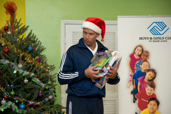 New York Yankees third baseman, Alex Rodriguez  at Boys & Girls Clubs of Miami-Dade's Hank Kline Club  December 8,, 2012 in Miami Florida.