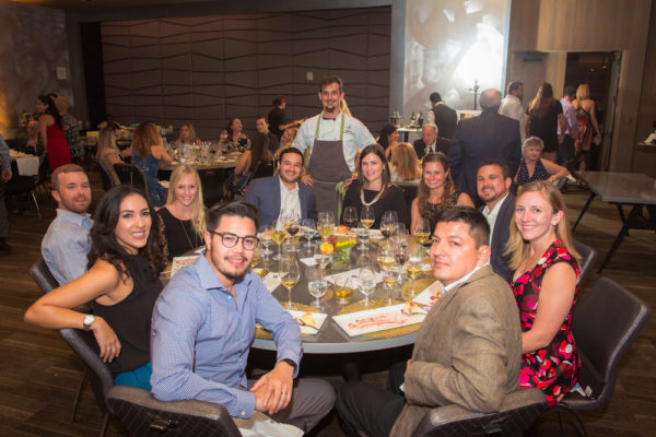 Chef Mike White and Elisa Juarez's table with team from Target